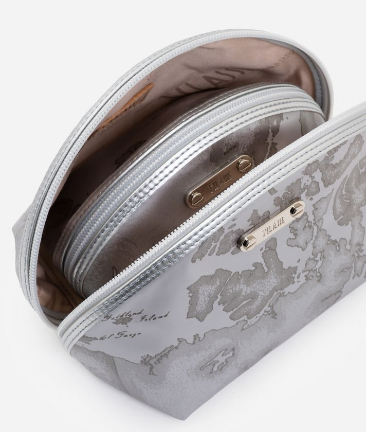 Small case kit 3 pouches in pearl grey rubberized fabric
