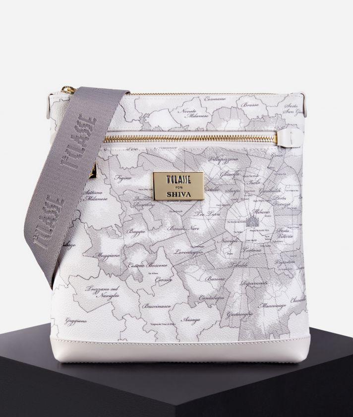 Flat crossbody bag Geo Map Milano print white