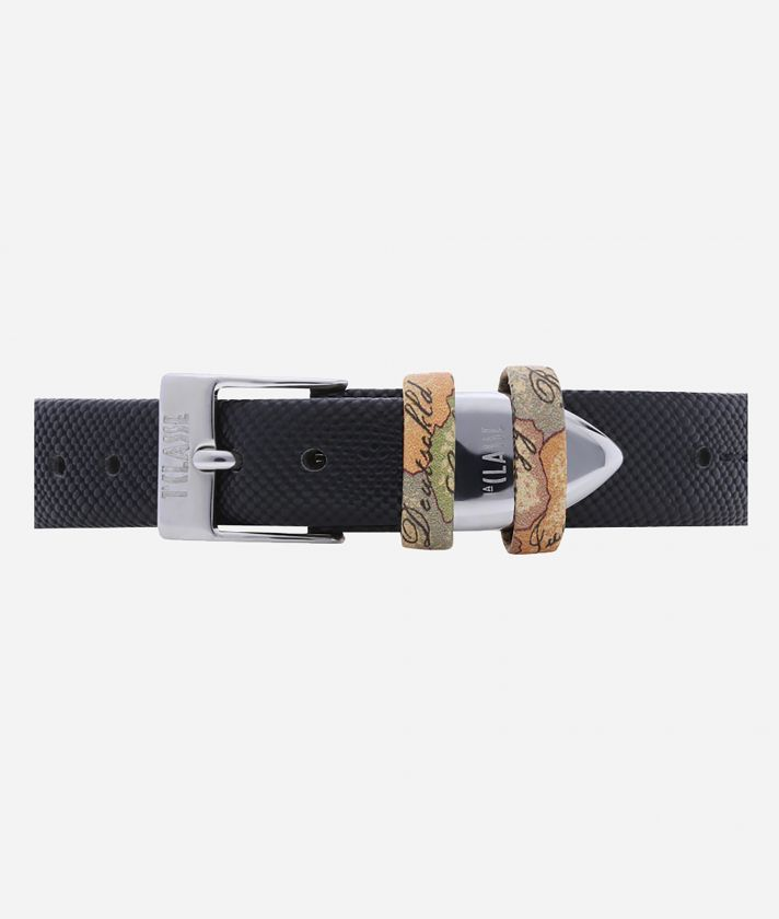 Santorini  Watch with saffiano leather strap Black