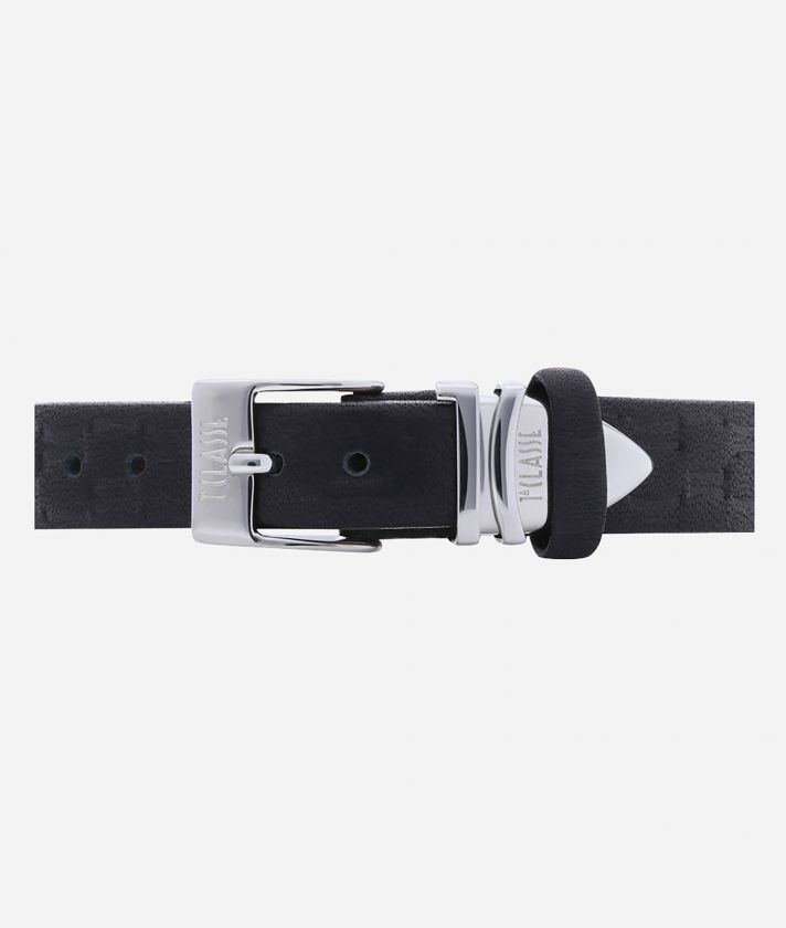 Formentera Watch with Monogram print leather strap Black