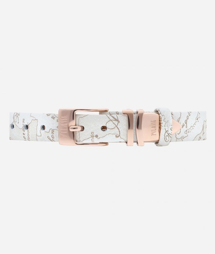 Madagascar Watch with Geo White print leather strap