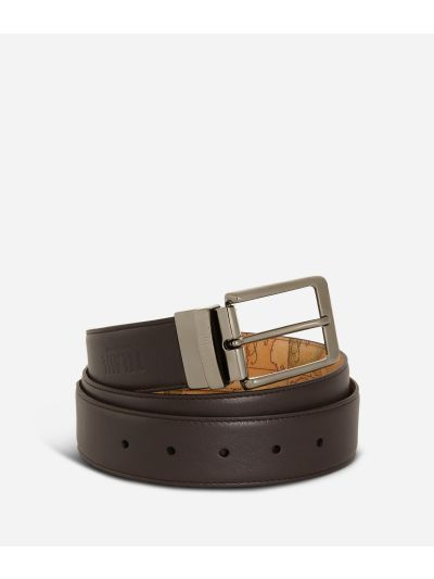 Men's reversible belt leather brown