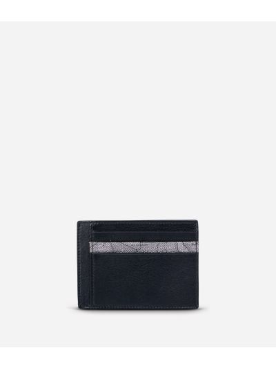 Small leather card holder Geo Dark fabric trims