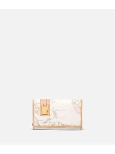 Geo White Medium wallet with pocket