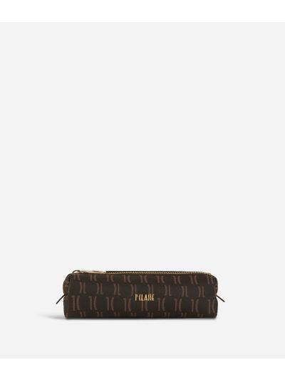 Monogram Pencil Case Dark Buff