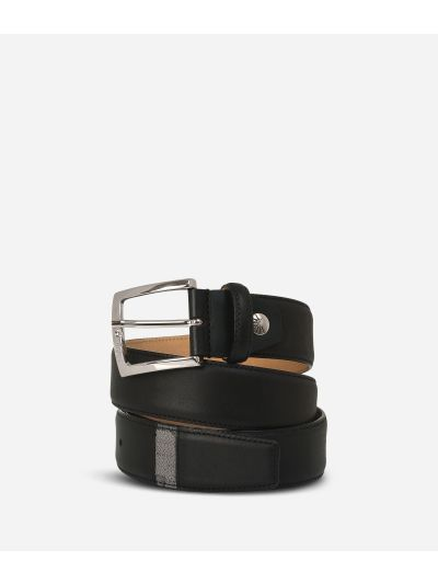 Leather belt trimmed in Geo Dark fabric