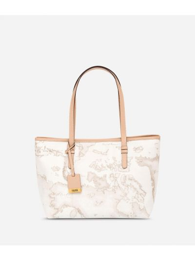 Geo White Medium shopping bag