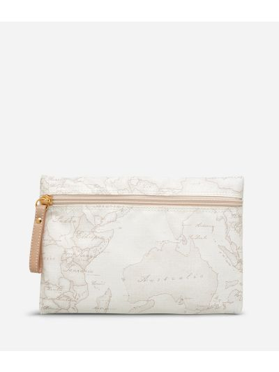 Geo Soft White Zipped carry-all pouch