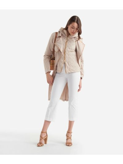 Boot-cut pants in gabardine stretch cotton White