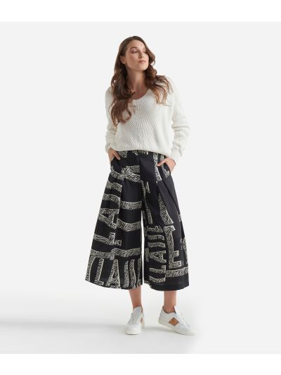 Twill wide pants with Maxi Lettering print Black and White