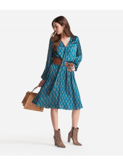 Viscose dress with Monogram print Blue