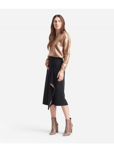 Asymmetrical skirt in stretch fabric Black