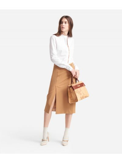 Corean Shirt in popeline cotton stretch White