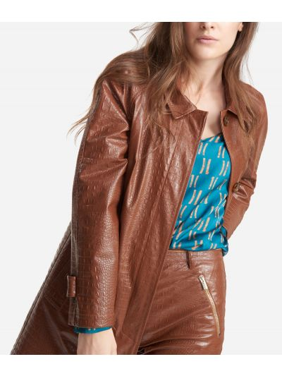 Trench in mock-croc print eco-leather Brown