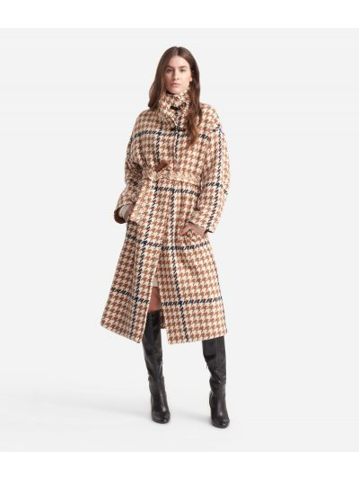 Wool blend coat  with macro pied-de-poule print White and Beige