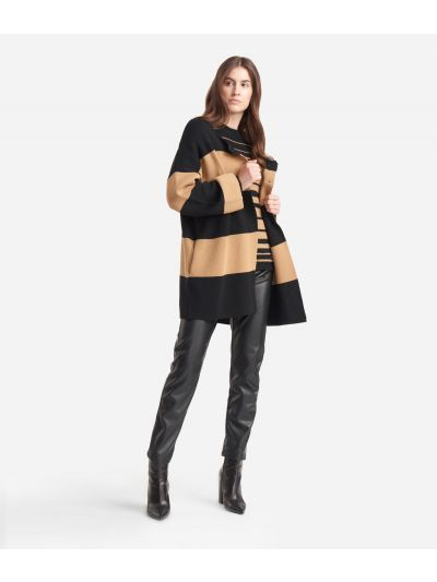 Cardigan striped jacket in wool blend Black and Beige