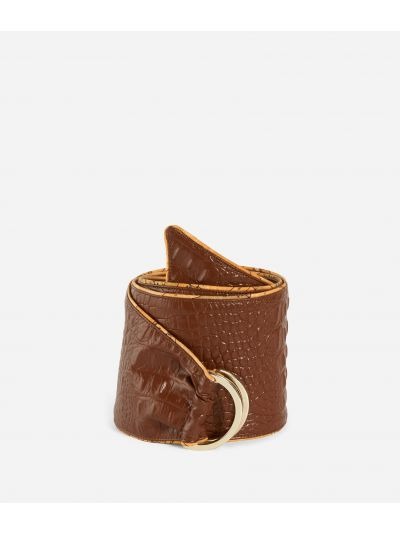 Cintura a bustino in ecopelle stampa cocco Marrone