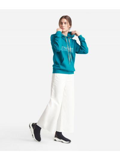 Sweatshirt with hood with maxi logo Green