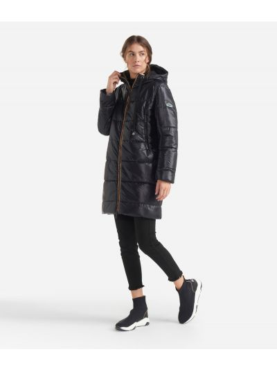 Long padded jacket with hood Black