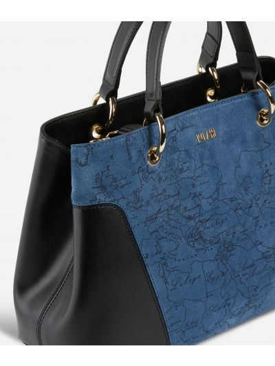 Suede Map Handbag in suede leather Blue e Black
