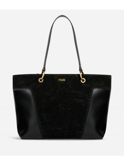 Suede Map Shopping Bag in suede leather Black