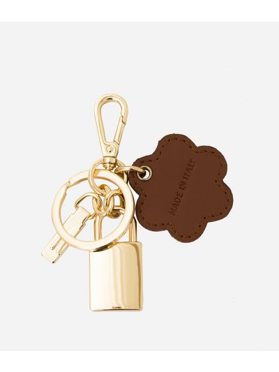 Keyring with 1C  padlock and four-leaf clover charm in Geo Classic fabric