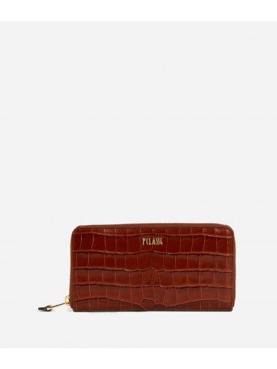 Belle Epoque Ziparound wallet in mock-croc effect calf leather Brown