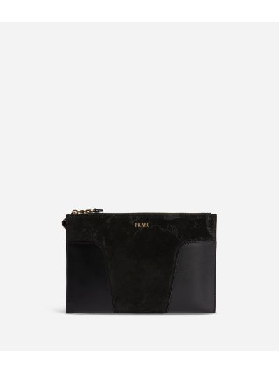 Suede Map Clutch in suede leather Black