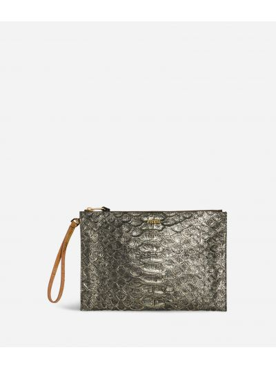 Belle Epoque Clutch with wristband in anaconda-print leather Bronze