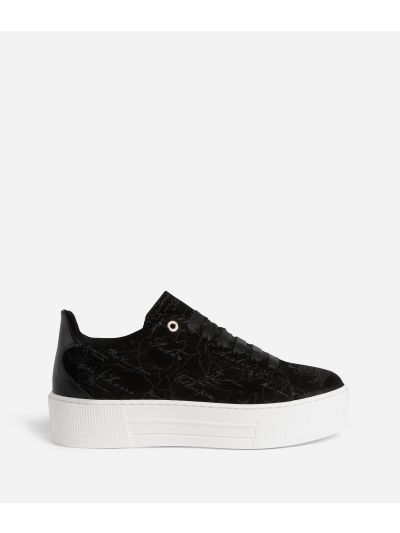 Suede Map Sneakers in suede leather Black