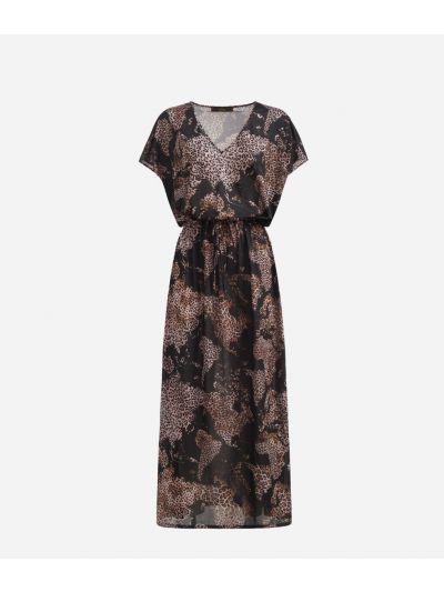 Long dress in crêpe with Geo Animalier Black
