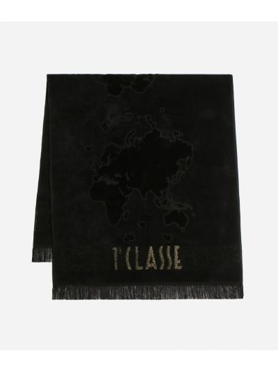 Beach towel with Geo Pieno Lurex print Black