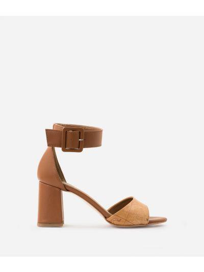 Sandali con tacco in pelle Marroni