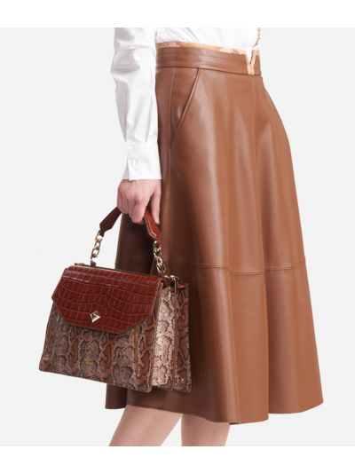 Poddle skirt in eco-leather Brown