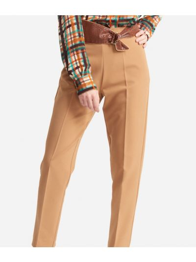 Straight Trousers in cavallery stretch fabric Beige