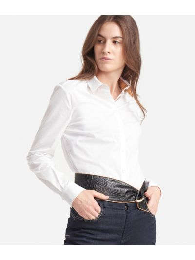 Slim fit shirt in popeline cotton stretch White