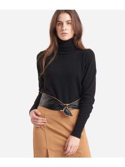 Turtleneck in cachemire blend Black