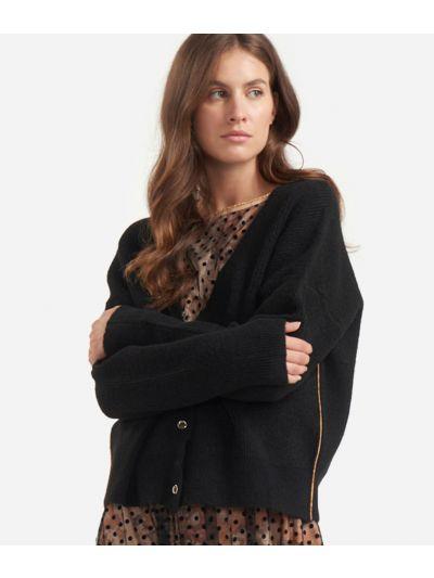 Cardigan in misto lana a costa inglese Nero