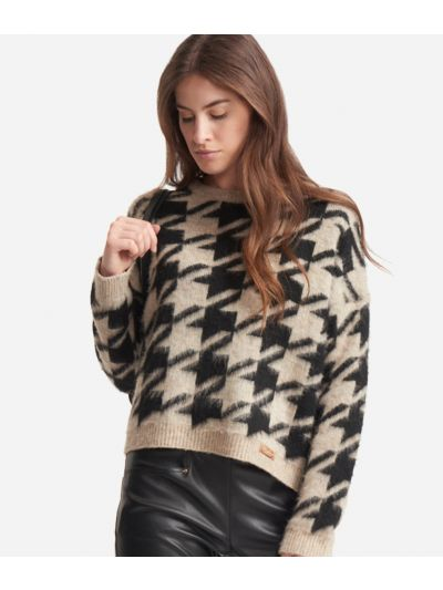 Crewneck sweater with macro pied-de-poule print Black and Beige