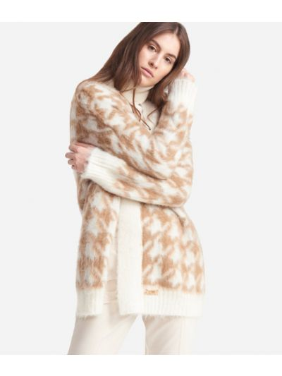 Cardigan in wool blend with macro pied-de-poule print White and Beige