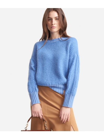 Crewneck sweater in mohair and wool blend Light Blue