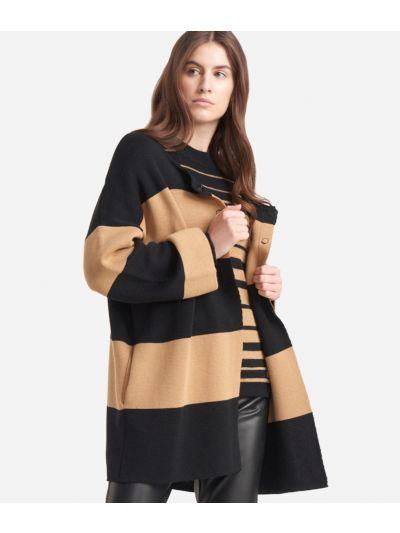Cardigan striped jacket in wool blend Black and Beige