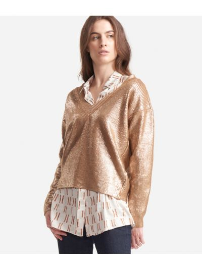 V-neck sweater in laminated wool Gold
