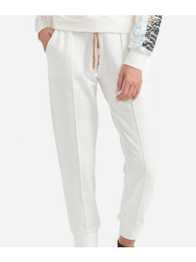 Jogging pants in fleece White