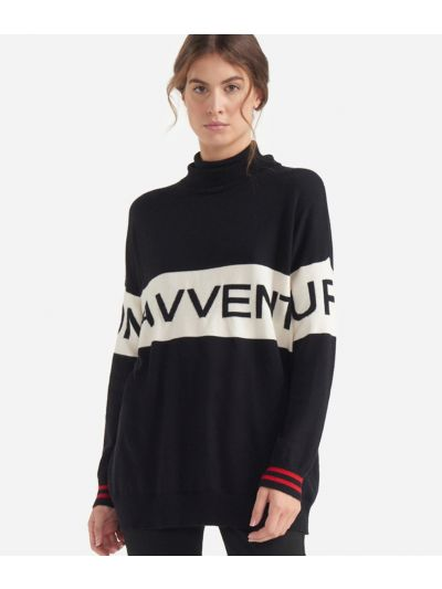 Turtleneck sweater with maxi logo jacquard White and Black