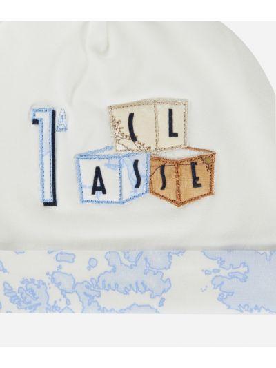 Cappellino in cotone ricamo cubi Bianco
