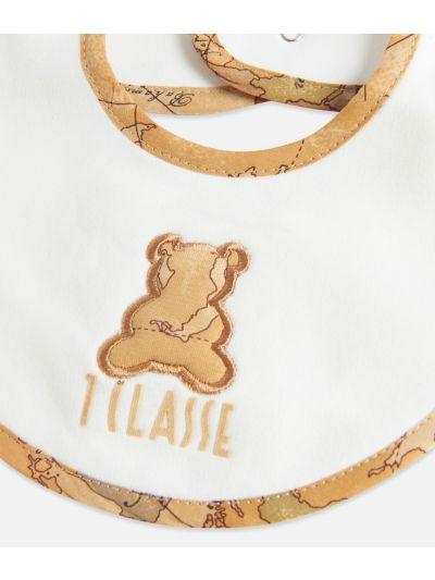 Bavaglino in cotone con orsetto Bianco