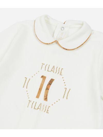 Tutina in cotone con logo 1C Bianca