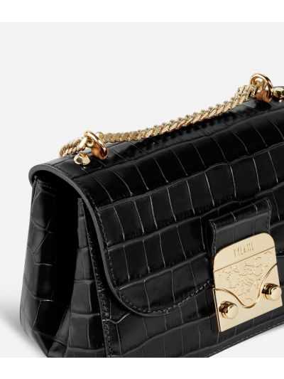 Joy Bag Crossbody Bag in mock-croc print calf leather Black