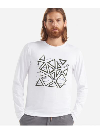 Long sleeves t-shirt with print White